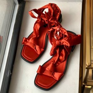 Rust colored satin Zara sandals size 41/11